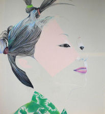 Fleuchtend, Junge japanerin, Mädchen, Design