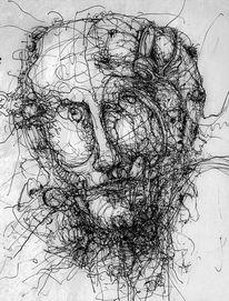 Gesicht, Portrait, Federzeichnung, Tusche