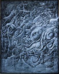 Acrylmalerei, Abstrakt, Monochrom, Befruchtung