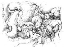 Skurril, Tuschmalerei, Abstrakt, Federzeichnung
