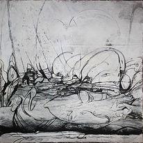 Kurz, Schweigeminute, Weiß, Acrylmalerei