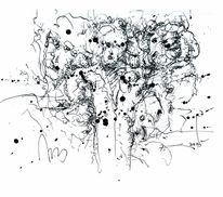 Feder, Tusche, Trugbild, Zeichnung