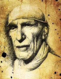 Sklave, Federzeichnung, Portrait, Zeichnungen