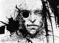 Einäugig, Zeichnung, König, Portrait