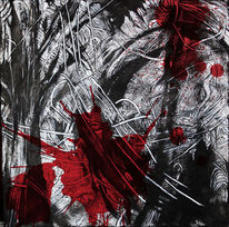 Chaos, Acrylmalerei, Weiß, Rot schwarz