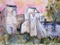 Mühle, Ruine, Abend, Aquarellmalerei