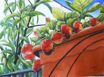 Erdbeeren, Blick zur terrasse, Acrylmalerei, Malerei