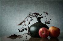Stillleben, Äpfel, Vase, Blumen