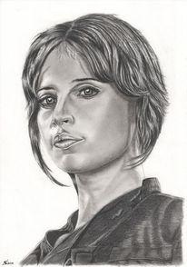 Portrait, Bleistiftzeichnung, Fettstift, Zeichnungen