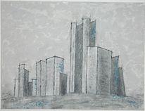Geometrisch, Skyline, Hochhaus, Grau