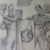 Affe, Bleistiftzeichnung, Zirkus, Clown