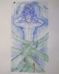 Grün, Akt, Aquarellmalerei, Zeichnung