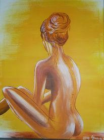 Hübsch, Frau, Akt, Malerei