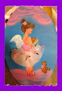 Engel, Himmel, Mädchen, Malerei