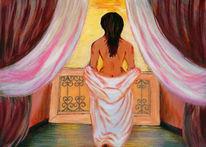 Frau, Akt, Fenster, Malerei