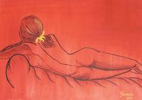 Frau, Sofa, Rot, Malerei