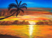 Sonnenuntergang, Palmen, Meer, Malerei