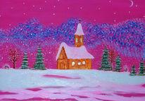 Schnee, Winter, Kirche, Malerei