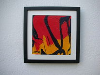 Glas, Rot schwarz, Gelb, Kunsthandwerk
