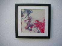 Acrylmalerei, Rahmen, Weiß, Rot