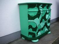 Grün, Eiche rustikal, Kommode, Kunsthandwerk