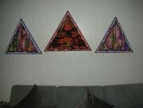 Dekoration, Dreiecke, Elefant, Mischtechnik