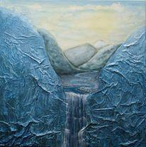 Wasserfall, Malerei, Himmel, Acrylmalerei
