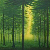 Wald, Baum, Licht, Malerei