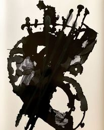 Schwarz, Abstrakt, Malerei, Kontrabass