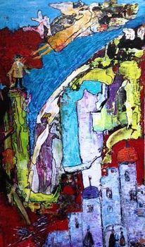 Blau, Intensiv, Acrylmalerei, Grün