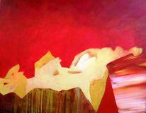 Spachteltechnik, Gelb, Acrylmalerei, Rot
