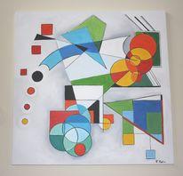 Ölmalerei, Dreiecke kreise, Construktive kunst, Ria reuter