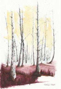 Tuschmalerei, Birken, Baum, Landschaft