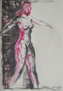 Tuschmalerei, Aktzeichnung, Skizze, Rot