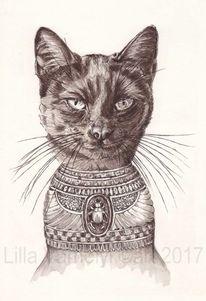 Katze, Bastet, Schwarz, Tusche