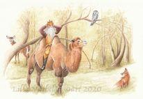 Wald, Illustration, Tiere, Tuschmalerei