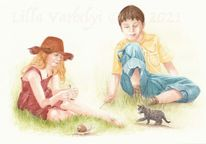 Kinder, Märchen, Tuschmalerei, Illustration