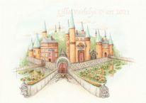 Schloss, Zeichnung, Illustration, Zwerg