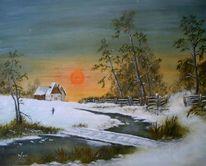 Ölmalerei, Winterabend, Dämmerung, Schneelandschaft