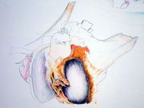 Zeichnung mit buntstifte, Malerei, Knochen