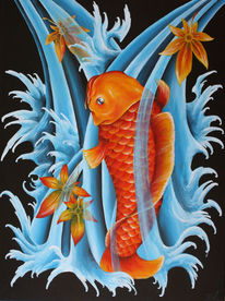 Oldschool, Japan, Fisch, Acrylmalerei