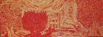 Herbst, Abstrakt, Rot, Baum