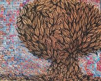 Baum, Herbst, Relief, Schwarz