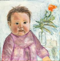 Baby, Portrait, Mädchen, Malerei