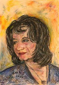 Portrait, Gesicht, Junge frau, Malerei