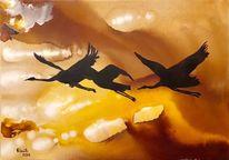 Vogelflug, Kranich, Wolken, Himmel