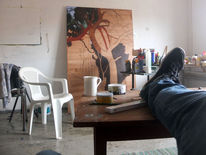 Tasse, Fuß, Stuhl, Tischkante