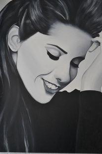 Schwarz weiß, Ölmalerei, Lächeln, Portrait