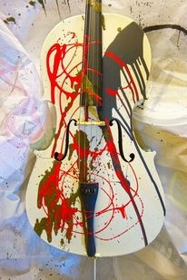 Cello, Schwarz, Liquid brush, Weiß