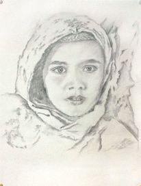 Zeichnung, Kind, Mädchen, Flucht